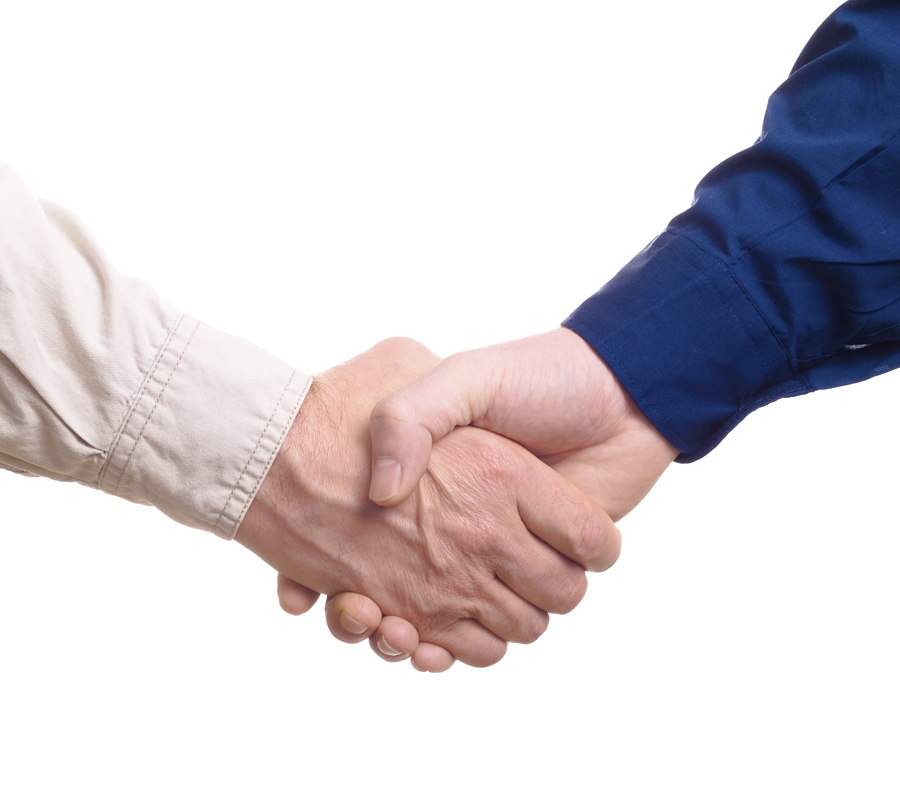 Business shake hand over white background